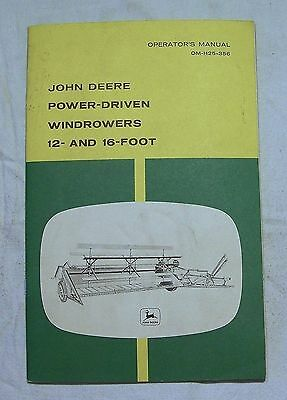 John Deere OPERATOR'S MANUAL OM-H25-356 Power-Driven Windrowers 12- and 16- Foot
