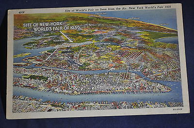 1939 New York Worlds Fair Map Postcard With Worlds Fair Postmark!