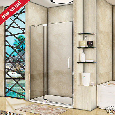Aica Frameless Pivot Shower Door Enclosure and Tray 8mm Easy Clean Glass Screen