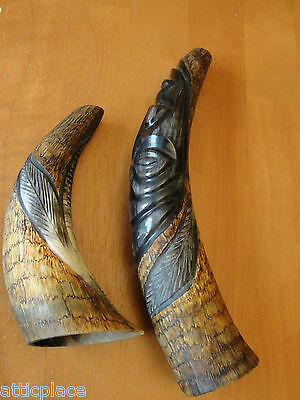 Vintage African Art - Pair Of Hand Carved Horns