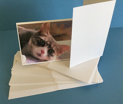 50 Blank White Photographic Size Cards 200gsm for Card Making - With Envelopes
