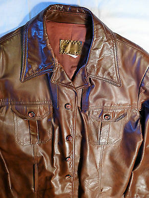 Vintage 1970's Mens Brown Leather Jacket Coat Sears 46 Tall