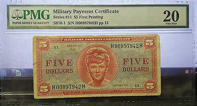 RARE $5 MPC Series 611 1ST PRINTING Graded PMG VF20 Military Payment Certificate