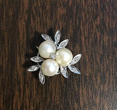 14k White Gold and Diamond Pearl Clasp for Necklace