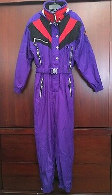 Marker One Piece Ski Snow Suit Purple Vintage Womens size 8