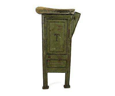 Antique Vintage Industrial Cast Iron & Wood Green Movie Opera Theatre Side Stand
