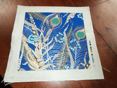 Organic handpainted needlepoint canvas peacock feathers berries branches 13.5 sq