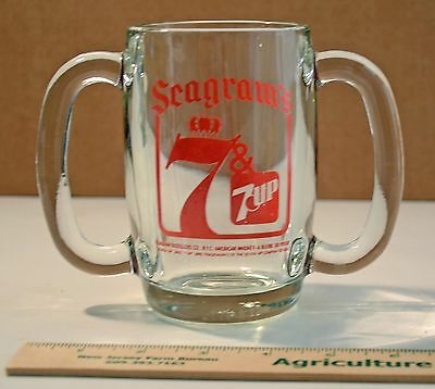 Vintage Seagram's 7 and 7 Up Double Handled Glass Mug Anchor Hocking Man Cave
