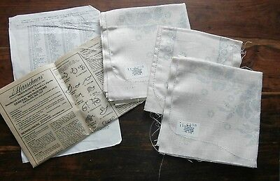 Vtg Herrschners stamped linen 9290 Triple Rose runners chair covers cross stitch
