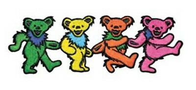 """Small Grateful Dead Dancing Bears Iron On Patch 1"""" x 3"""" Free Ship Licensed P1279"""