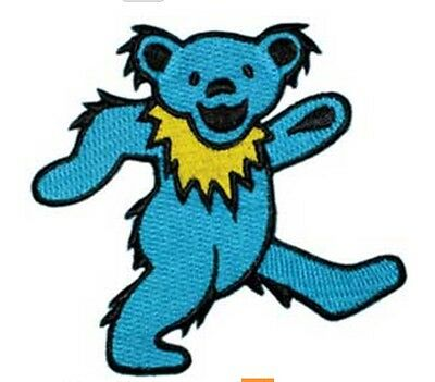 "Grateful Dead Blue Dancing Bear Iron On Patch 3 1/2"" x 3 1/2"" Licensed P1265"
