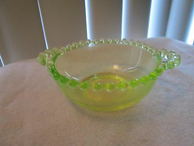 "Boyd Crystal Art Glass Vaseline Candlewick Two Handle Bowl 4.25""d"