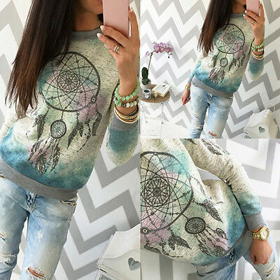 NEW Fashion Women Long Sleeve Tops Casual Blouse Floral Loose T Shirt Pullovers