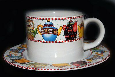 MARY ENGELBREIT Teapots and Cherries Afternoon Tea Cup Saucer Set Coffee Mug