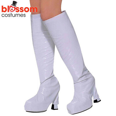 AS62 60s 70s White Boot Shoes Covers Retro Disco Halloween Costume Accessories