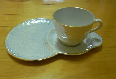 MALING vintage lustre light blue teacup & sandwich plate duo SALE BUY NOW