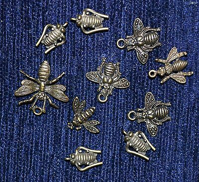 Lot of 10 vintage Bronze Color Alloy Pendants / Amulets / Charms Insects, Bees