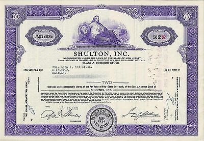 SHULTON Inc., New Jersey, 1963 (2 Shares Class A)