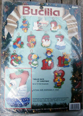 Vtg Bucilla 82939 Twelve Days of Christmas Felt Embroidery Kit NEW