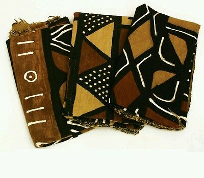 "Authentic 4 Color Mudcloth Fabric African Mali Mud Cloth Handwoven 63"" x 45"""