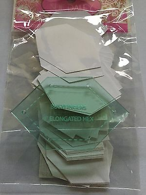 """Sue Daley English Paper Piecing 1"""" elongated hexagon template or papers or both."""