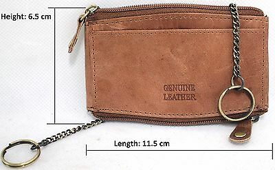Quality Full Grain CowHide Hunter Vintage Leather CoinPurse with KeyChains 12051