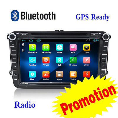 8'' Double 2Din Android 4.4 GPS For VW Bluetooth Car Stereo DVD Player Autoradio