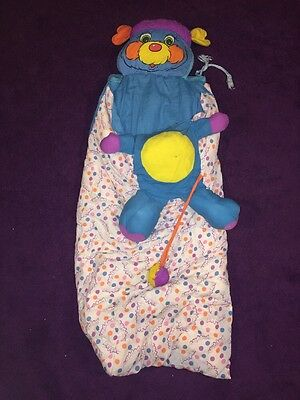 Vintage Popples Sleeping Bag Converts To Plush Pillow Childs SIze Pouch Blue Pre