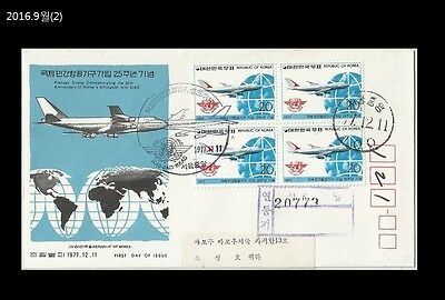 Aviation,Airplane,Intl Civil Aviation Organization,ICAO,Korea 1977 REG FDC,Cover