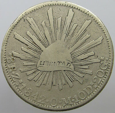 Mexico 8 Reales 1842 Mounted    #t9 251