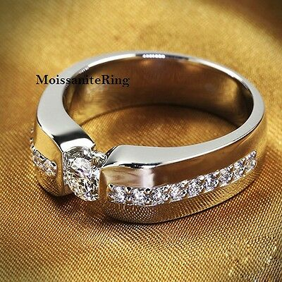 6.5mm Off White Moissanite Man's Wedding Engagement Ring 925 Sterling Silver