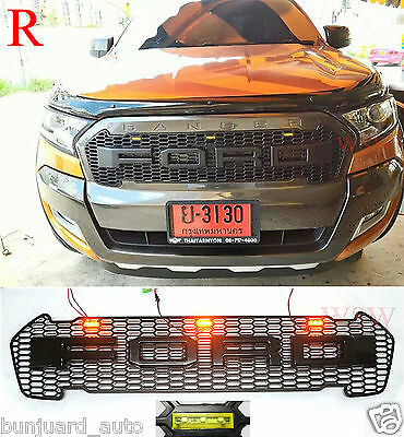 New Ford Ranger MK2 2015 - 2017 Wildtrack Matte Front Grill Grille Amber LED Bar