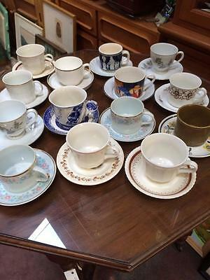 28 pc 14 x vintage odd match tea cups & saucers duos set cafe or vintage wedding