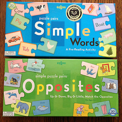Set 2 eeBoo Simple Puzzle Pairs Games for Ages 3+ Award-Winning Words Opposites