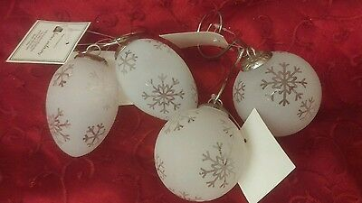 Christmas Etched Glass Snowflake Ornaments set 4 Home Interiors & Gifts Vintage