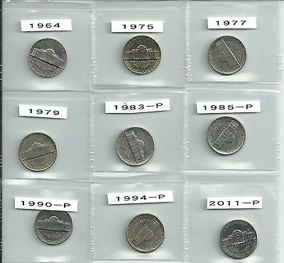 USA 5 cent(nickels) 9 coins - different dates -all UNC