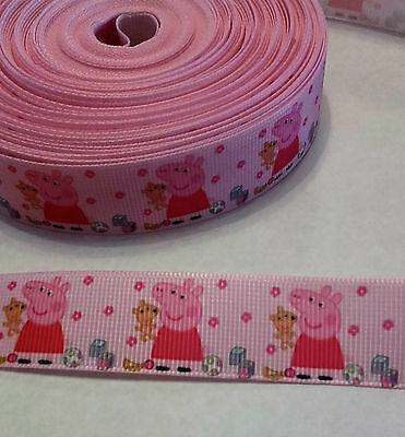 Peppa Pig with Teddy grosgrain ribbon, 22mm ( 1 meter) for cakes, crafts & bows