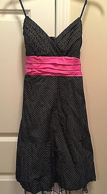 Black And White Polka Dot With Pink Ribbon Rockabilly Dress Size 7, NWT!