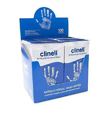 100 Clinell Antibacterial Hand Wipes - Sanitises Disinfects Cleans Refreshes NEW