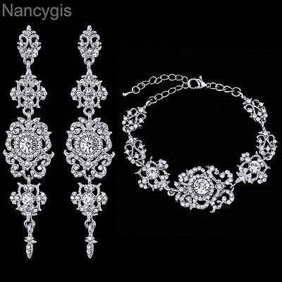Elegant Crystal Floral Bracelet and Earrings Party Bridal Wedding Jewellery Set