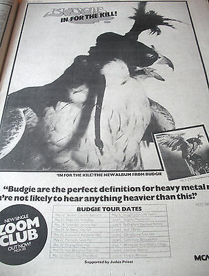"""Budgie """"in For The Kill """" Album  And Gig Adverts From 1974 ... A3"""