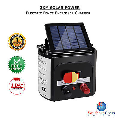 New 3km Solar Power Electric Fence Energizer Kit Charger