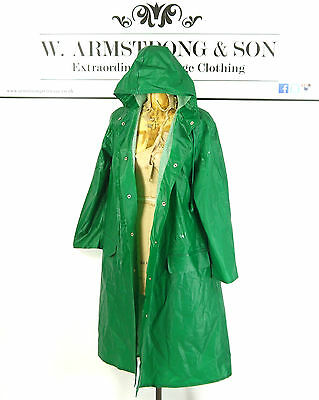 VTG Green RUKKA 70s PVC Matte Cotton HOODED Raincoat Outdoor Trench Mac Coat M