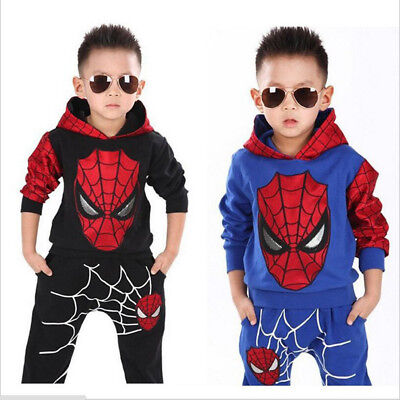 2PCS NEW Baby Boys long sleeve Spiderman Top+Pants  Set Kids Casual Clothes