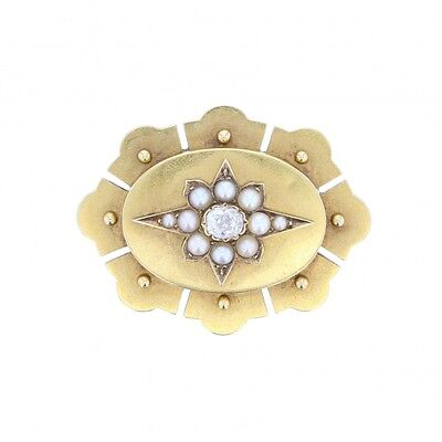 Antique Victorian 15ct Gold Diamond and Pearl Star Brooch