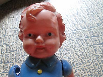 Vintage doll from celluloid/movable arms & legs-little boy l/in blue outfit