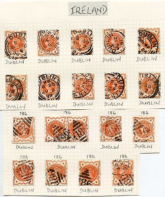 IRELAND QV POSTMARKS 19 stamps DUBLIN TYPES CDS + NUMERALS