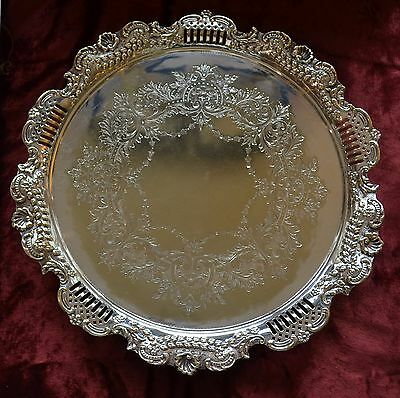 Silver Plate salver with feet Silber & Fleming, AMS, antique pre 1886 Victorian