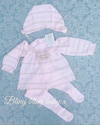 Spanish Baby Girls Knitted Babygrow Romper Outfit Set 3 Piece  3-6 Months Pink