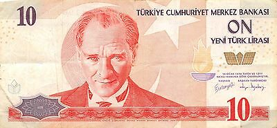 Turkey 10 Lira  ND. 2005  P 218 Series A  circulated Banknote 2D